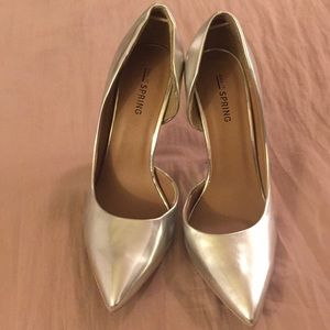 902b6f0172c03 Call It Spring Shoes | Metallic Silver Pointed Toe Pumps | Poshmark